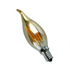 E14-5W-4000K Лампа LED (Свеча на ветру золото Филомент)